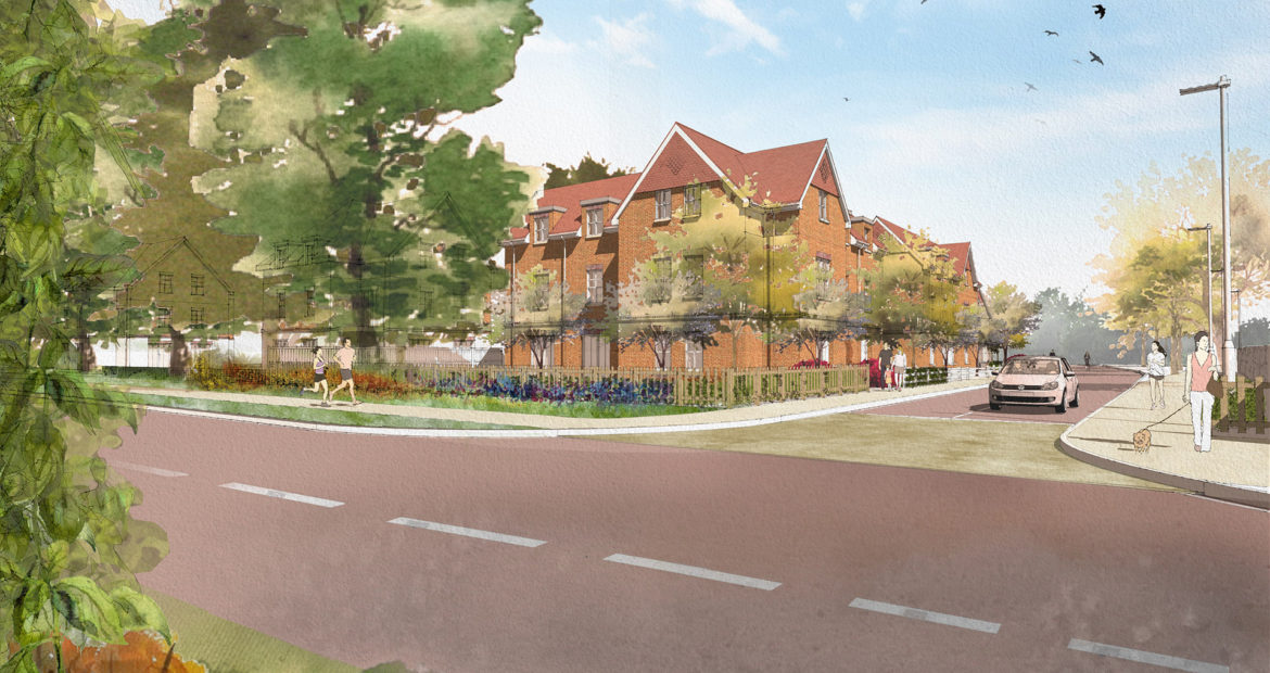 planning consent achieved for new homes development Goffs oak Hertfordshire